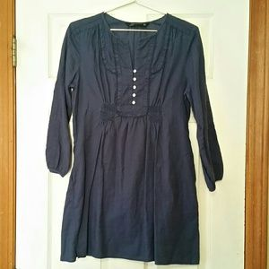 Zara Woman Navy Blue Tunic Dress | Pockets